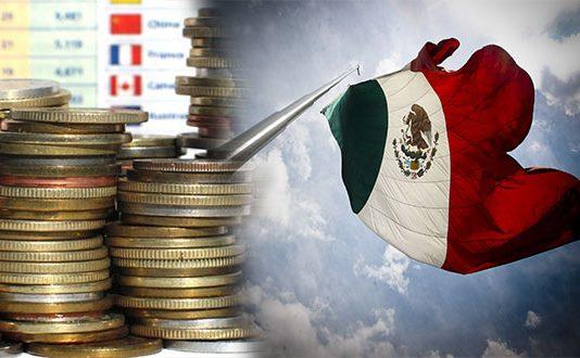 Monedas y bandera de México